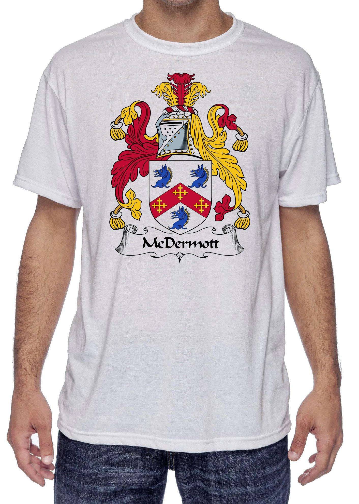 McDermott Coat of Arms-Family Crest, Moister Wicking Sports T-Shirt X-Large White
