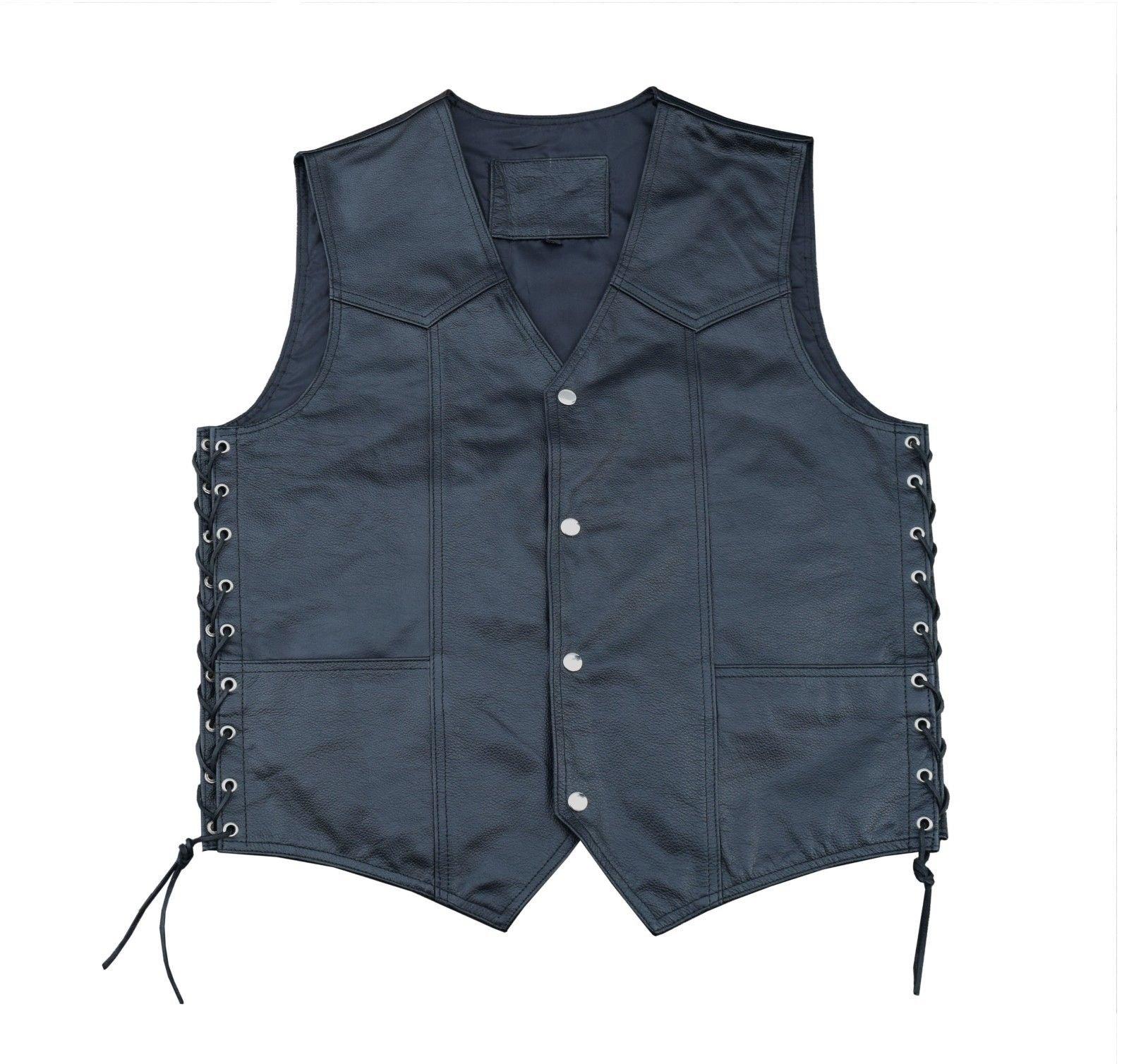4Fit Men's Black Cowhide Leather Classic Motorcycle Side Laces Biker/Club Vest (5XL)