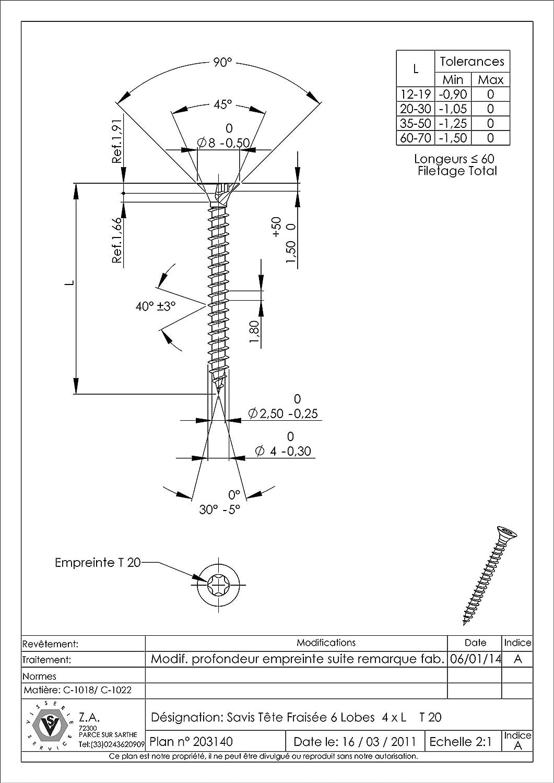VBA//VIS POUR BOIS ET AGGLOMERE TETE FRAISEE TF TORX T20 4X35 ACIER ZINGUE NOIR