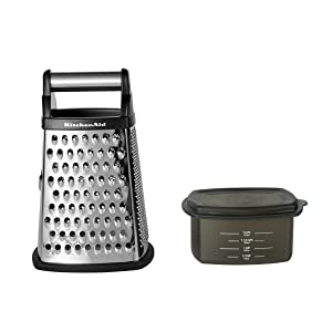 KitchenAid KN300OSOBA Gourmet 4-Sided Stainless Steel Box Grater with Detachable Storage Container Black