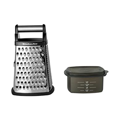 KitchenAid KN300OSOBA Gourmet 4-Sided Stainless Steel Box Grater with Detachable Storage Container, Black