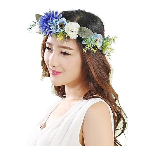 Azul girasol corona diadema novia corona de flores guirnalda de flores para Festival Boda