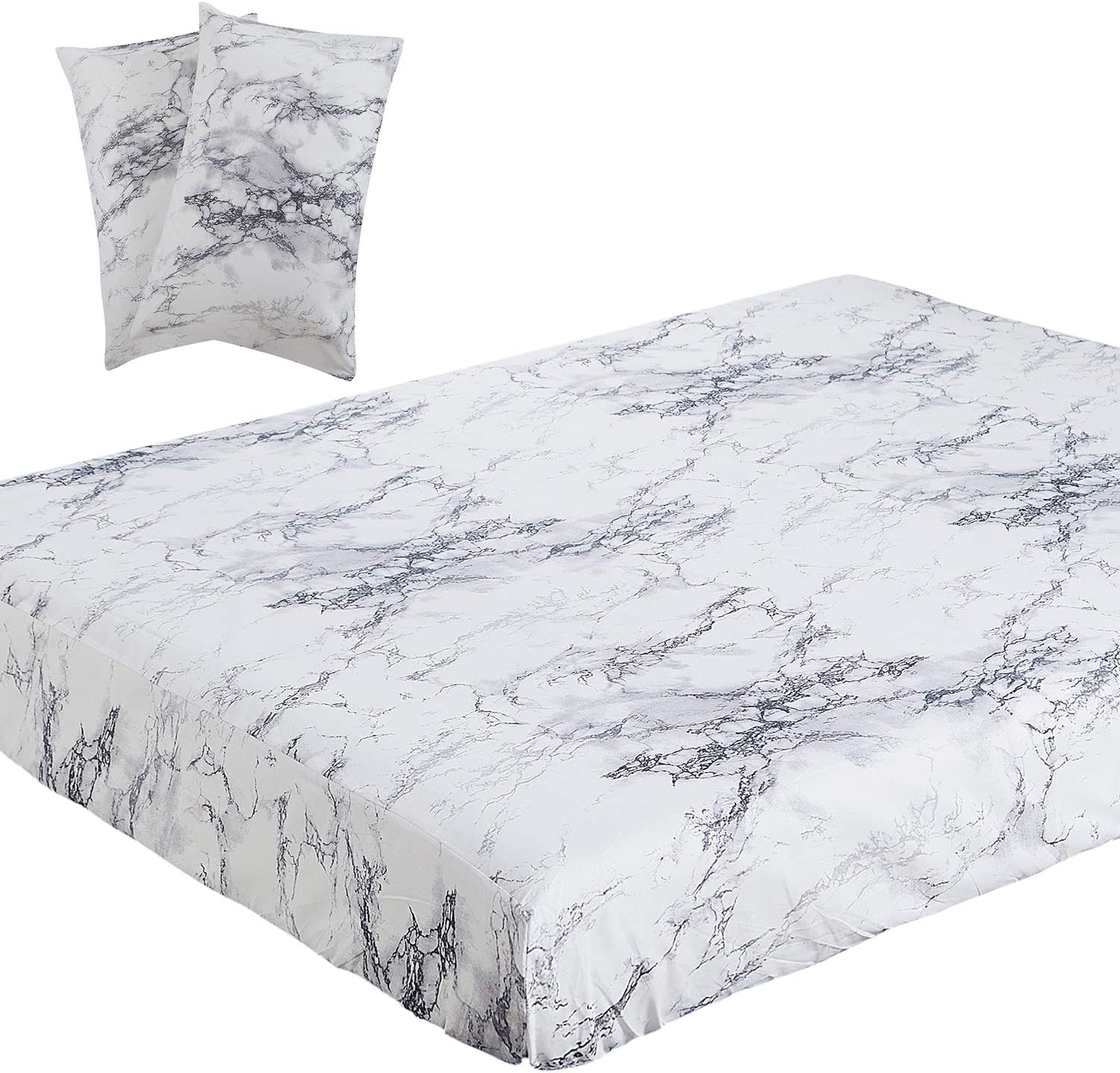 Vaulia Lightweight Microfiber Sheets, White Marble Printed Pattern, King Size 3-Piece ( 1 Fitted Sheet, 2 Pillowcases )