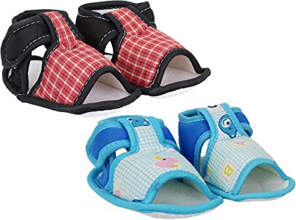Neska Moda Baby Boys and Girls Checks Red Cotton Velcro Booties For 0 To 12 Months Anti Slip sale new arrival ReiyVgvM