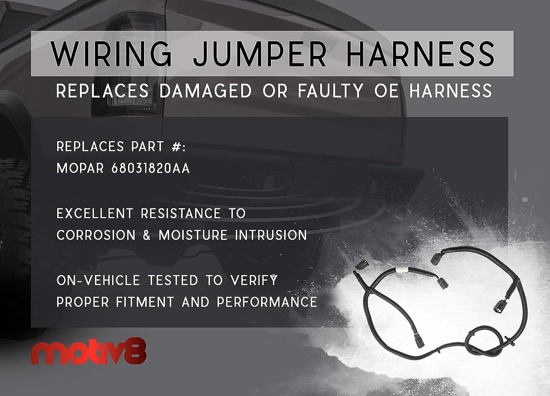 Jumper for DODGE 09-20 RAM 1500; 10-18 RAM 2500 3500 Rear Parking Bumper Sensor Replaces # 68031820AA MOTIV8 DODGE RAM Rear Park Assist Wiring Harness Backup Light Wiring Harness Warning System