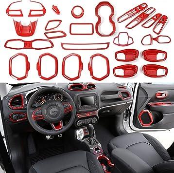For Renegade 2015-2018 Auto ABS Interior Dashboard Navigation Frame Trim Orange