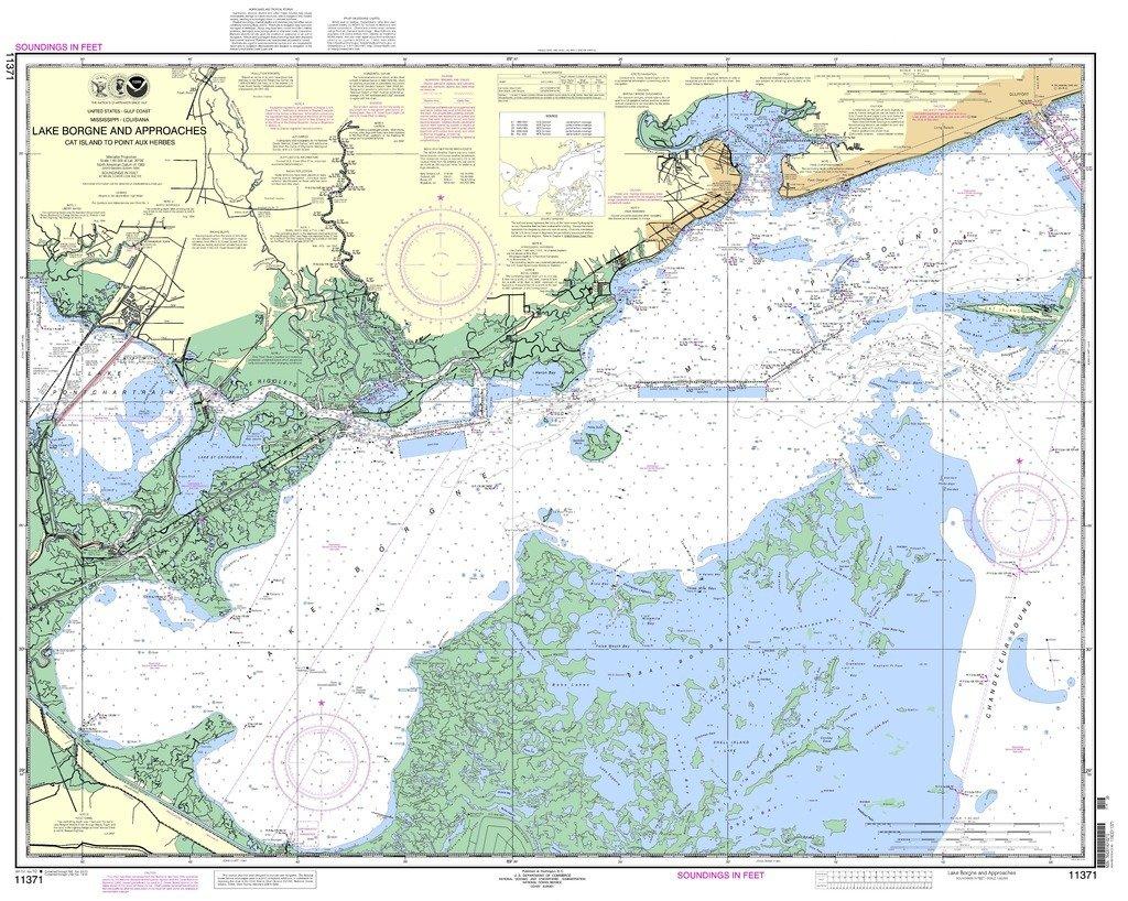 NOAA gráfico 11371: Lago Borgne y enfoques Cat isla a punto ...