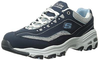 Skechers Sport Women's D'Lites Memory Foam Lace-up Sneaker,Navy/White