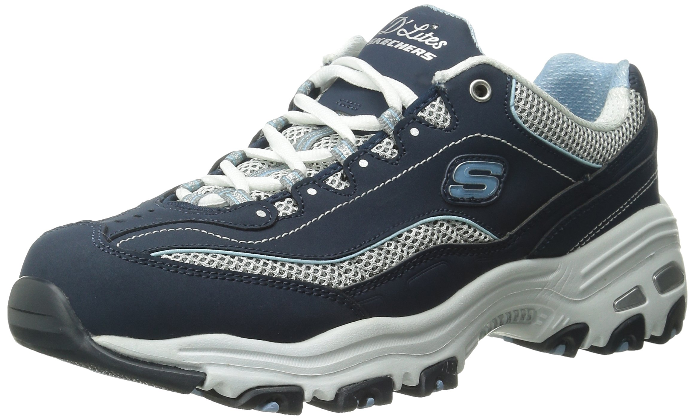 Skechers Sport Women's D'Lites Memory Foam Lace-up Sneaker,Navy/White,9 M US
