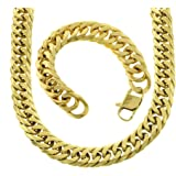 usdiamondking Big 18mm Yellow Gold Tone Miami Cuban Curb Link Chain Necklace Mens Iced Out