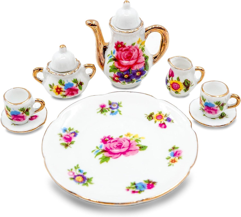 Dollhouse flower design porcelain dinner set 1:12 scale