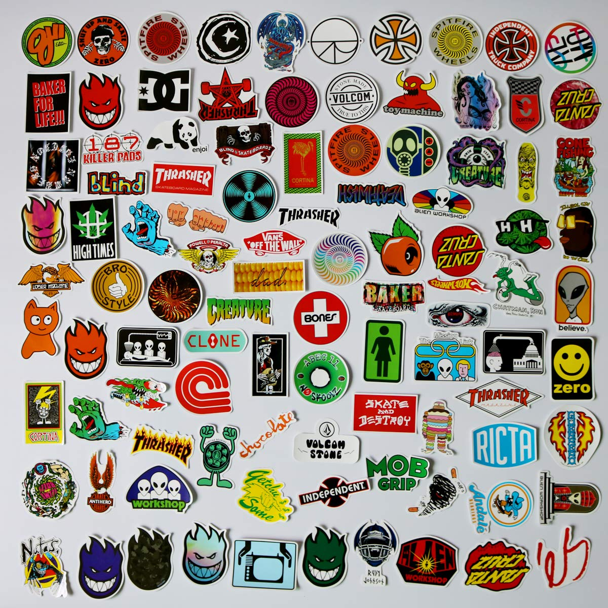 Brand logo sticker pack 100pcs car stickers motorcycle bicycle skateboard luggage decal graffiti patches skateboard stickers for laptop uv resistant