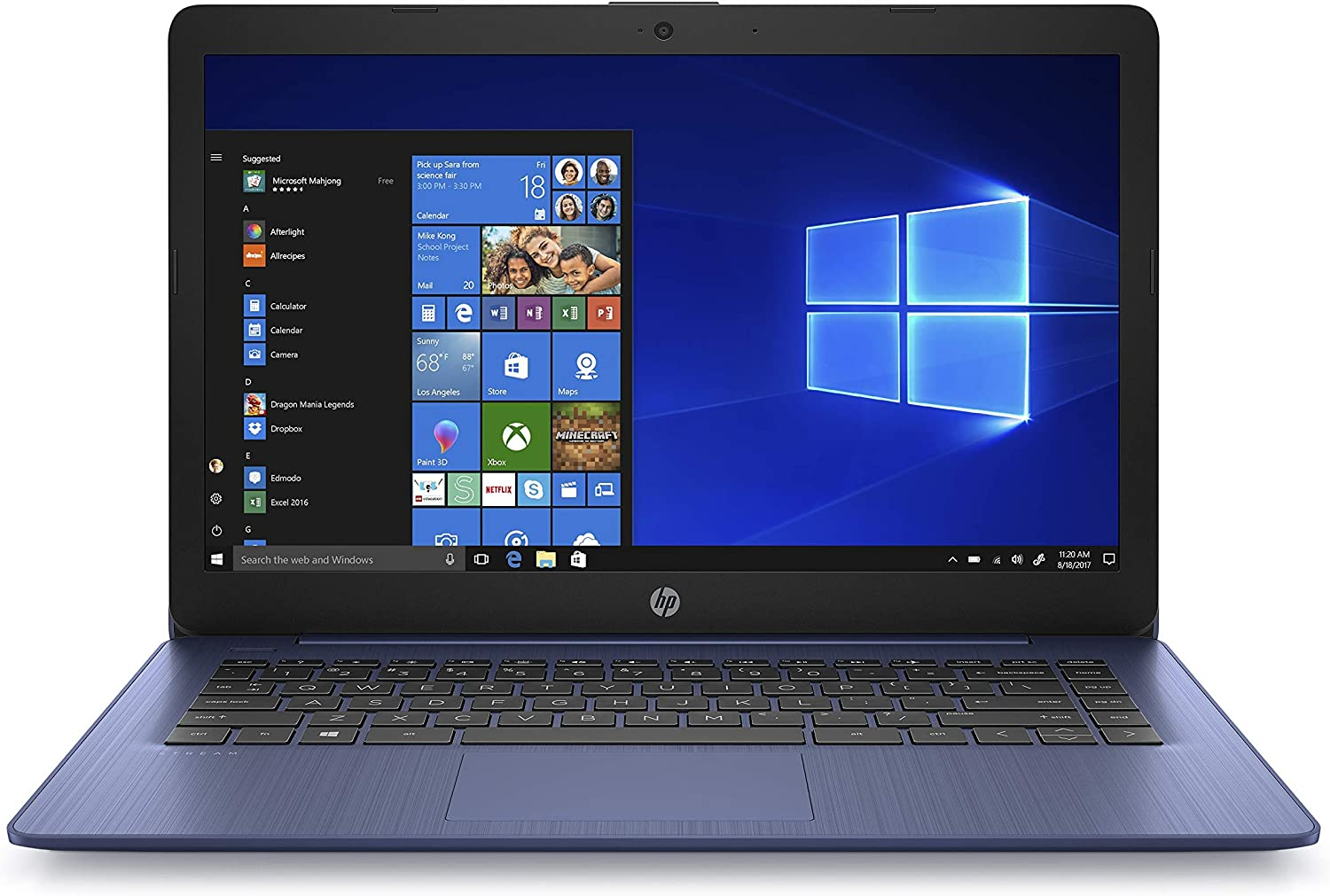 HP Stream 14-inch Laptop, AMD Dual-Core A4-9120E Processor, 4 GB SDRAM, 64 GB eMMC, Windows 10 Home in S Mode with Office 365 Personal for One Year (14-ds0050nr, Royal Blue) (Renewed)