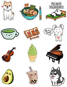 12-Pack Cute Vinyl Stickers for Water Bottles, Hydroflasks, Cars, and Laptops - Waterproof and Durable for Outdoors - Unique and Original Cute Designs for Teens, Adults, Males and Females.