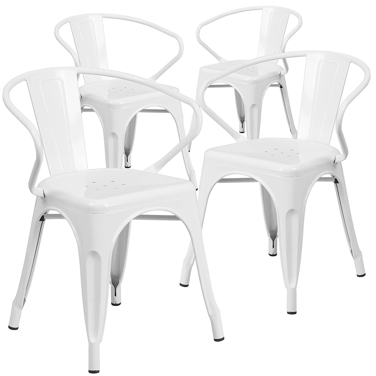 Amazon com flash furniture 4 pk white metal indoor outdoor chair with arms kitchen dining