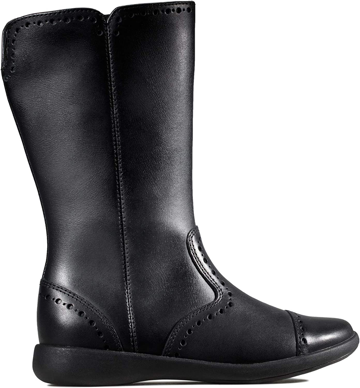 Clarks Etch Stride Kid Leather Boots in Black