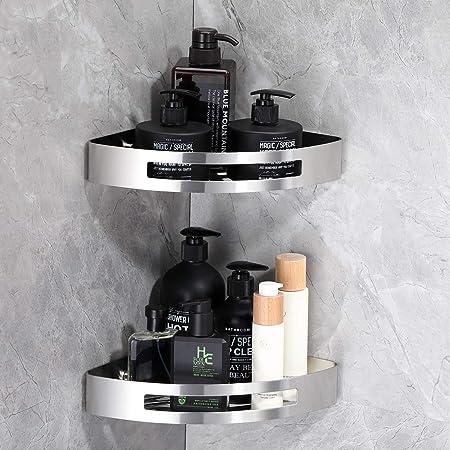 KAIBOR - Estantería de ducha de acero inoxidable V2A 304 sin agujeros, 29 x 21 x 5