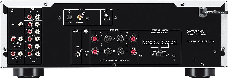 Yamaha AS-301 - Amplificador híbrido (95W, estéreo, entrada digital), plateado: Amazon.es: Electrónica