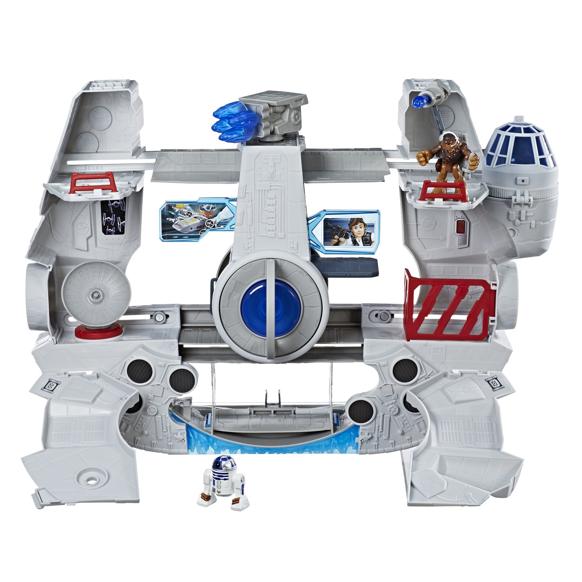 Star Wars Galactic Heroes 2-In-1 Millennium Falcon Vehicle Playset, Chewbacca, R2-D2 2.5-Inch Action Figures, Lights and Sounds, Toys for Kids Ages 3 and Up