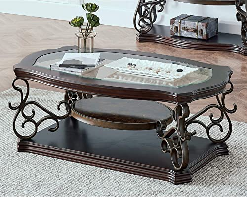 Goujxcy Traditional Coffee Table,3-Tier End Table