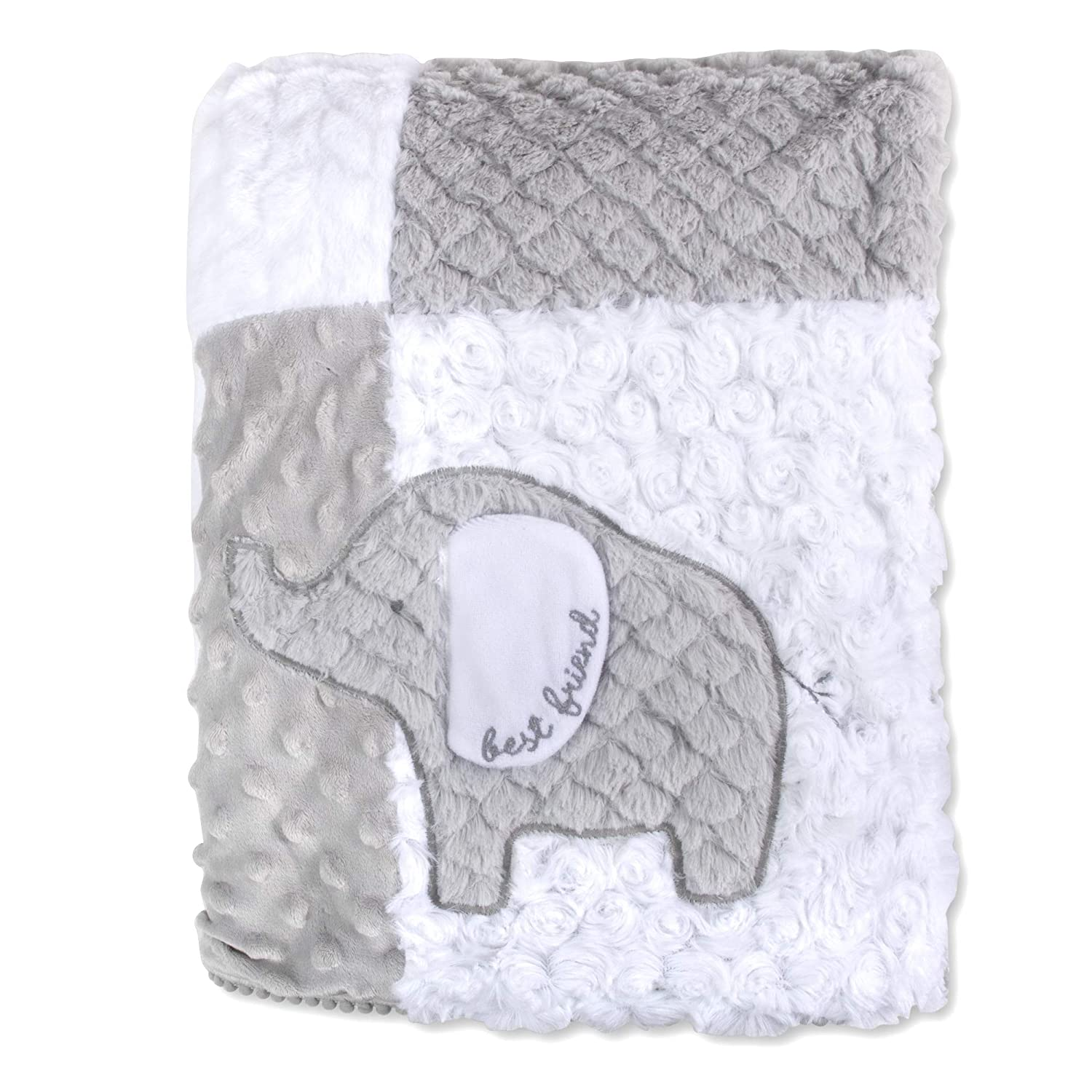 Wendy Bellissimo Reversible Baby Elephant Blanket with Baby Elephant in Gray and White