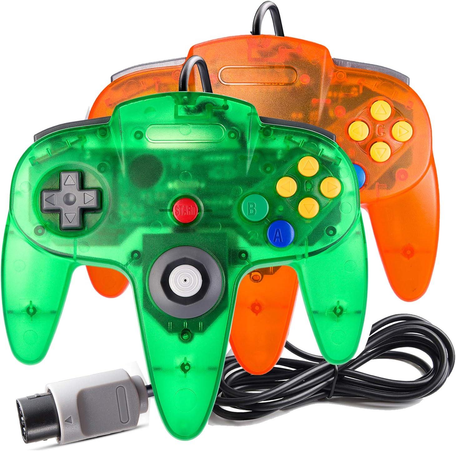Suily - Juego de 2 mandos para juegos N64 (transparente/naranja ...