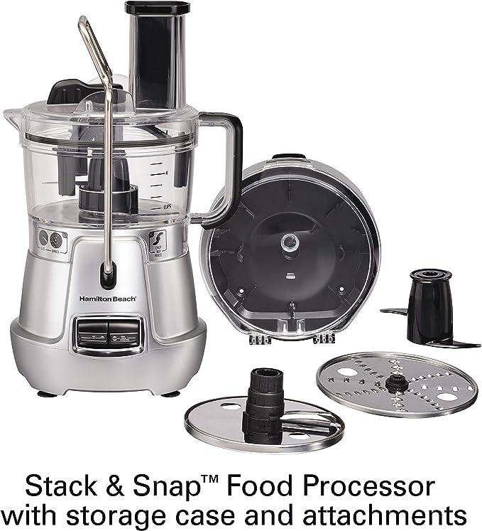 Hamilton Beach Stack & Snap 70820 - Procesador de alimentos (8 tazas, hoja de corte ajustable, raspador de cuenco integrado y estuche de almacenamiento): Amazon.es: Hogar