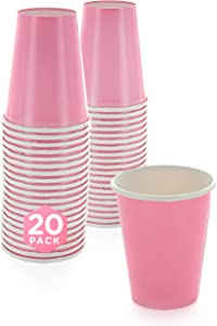 SparkSettings Disposable Paper Cups Drinking Paper Cup for Both Hot and Cold Beverages Perfect for Coffee, Tea, Water or Juice - New Pink, Pack of 20
