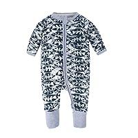 BIG ELEPHANT Unisex Baby 1 Piece Long Sleeve Sleepwear Zipper Romper Play Suit L17