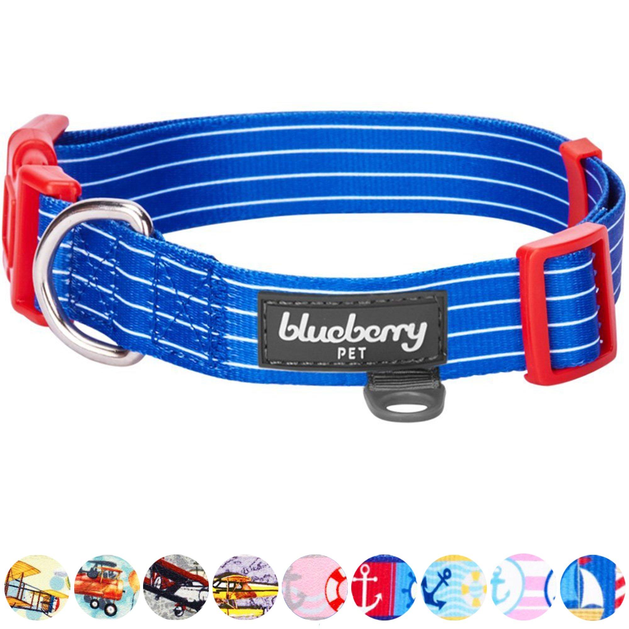 Blueberry Pet Royal Bon Voyage Nautical Sleek Wisdom Designer Dog Collar Small