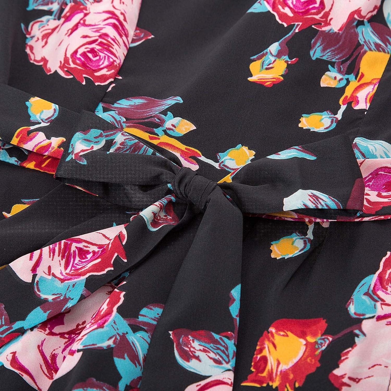 GRACE KARIN Robe Crayon Femme Vintage Pin Up Fendue Manches Courtes Robe de Soiree Cocktail avec Ceinture