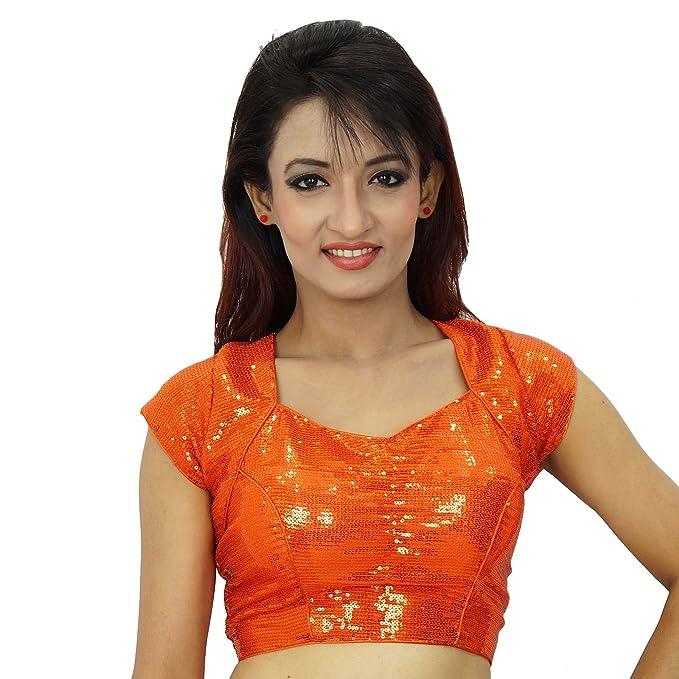 Ropa de la boda india de las lentejuelas Sari Choli Mujeres Ready-Made blusa de