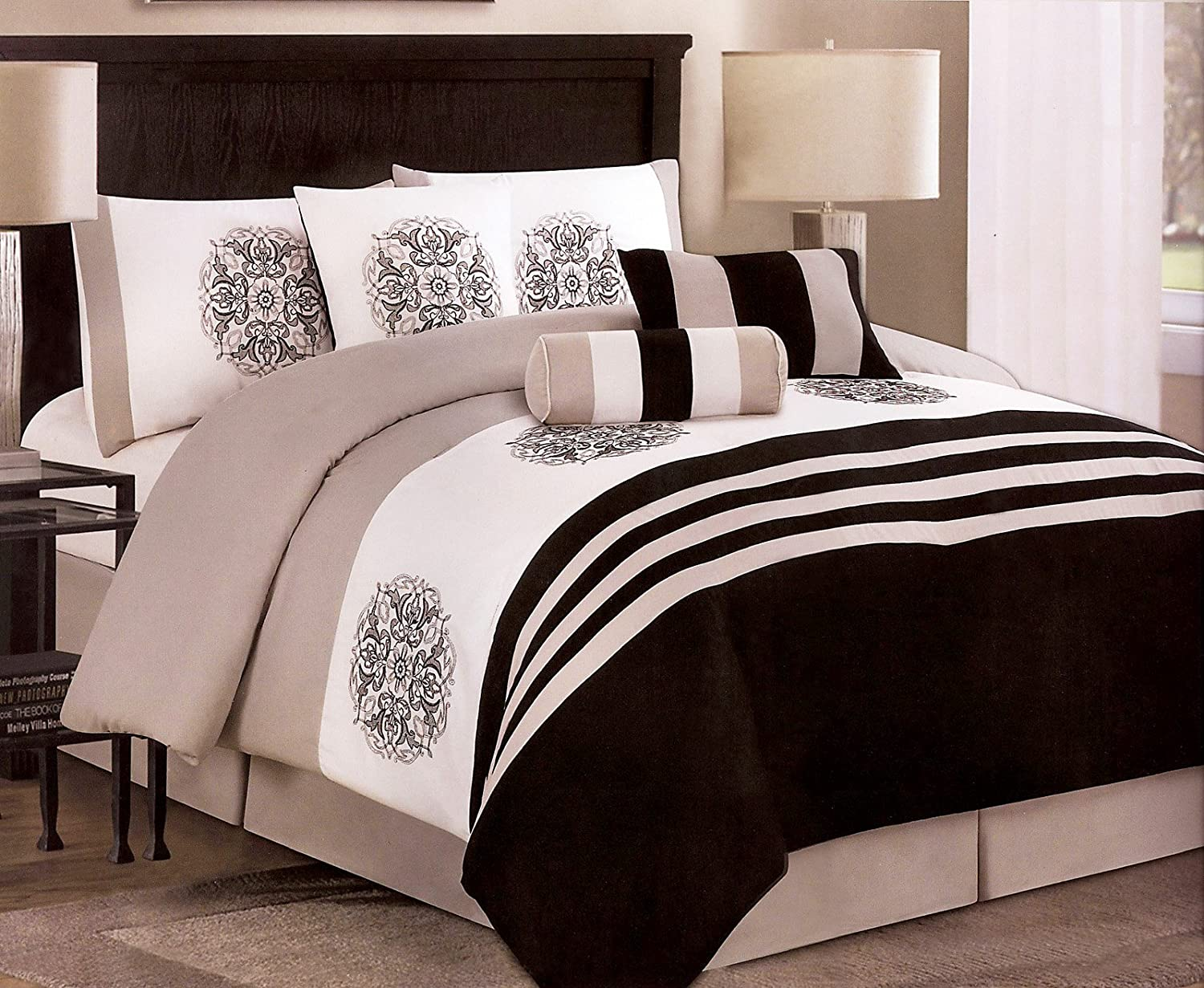 amazoncom 7pieces embroidery medallion comforter set bedinabag queen black taupe white home u0026 kitchen