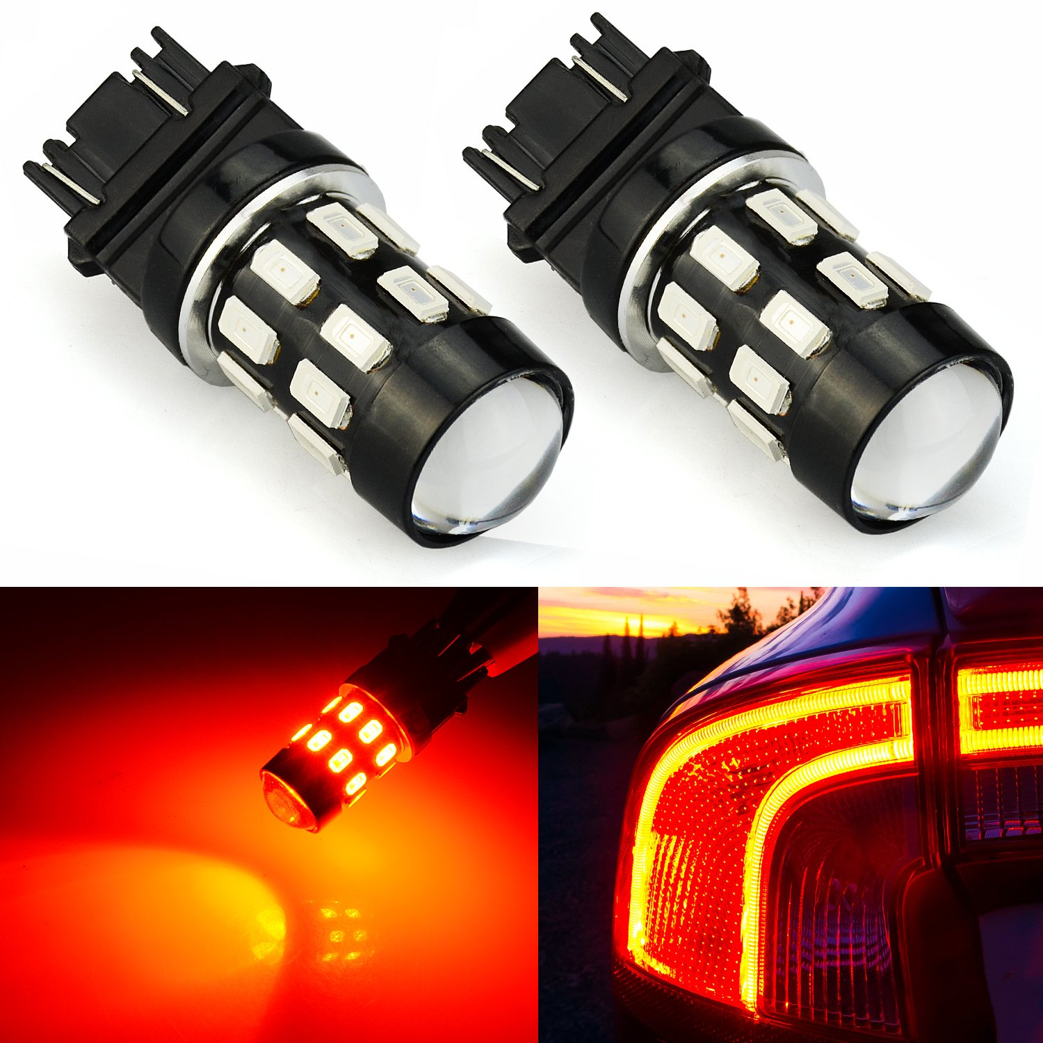 JDM ASTAR Super Bright 5730 Chipsets 3056 3156 3057 3157 LED Bulbs with Projector,Brilliant Red ( Only work for standard socket , not for ck socket) JDM ASTAR-3157-5730-24R