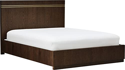 Rivet West Platform Queen Bed With Inlays, 86 L, Dark Oak Finish