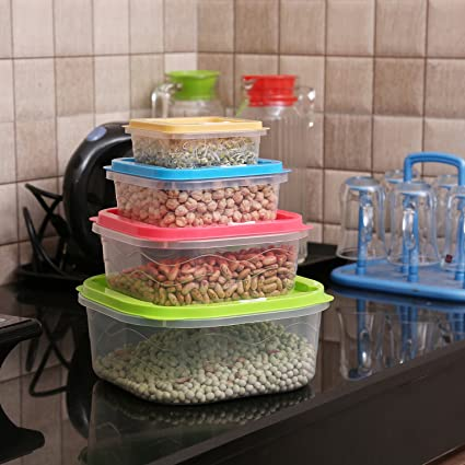 Buy Kurtzy Plastic Square Storage Container with Lid for Meal Prep