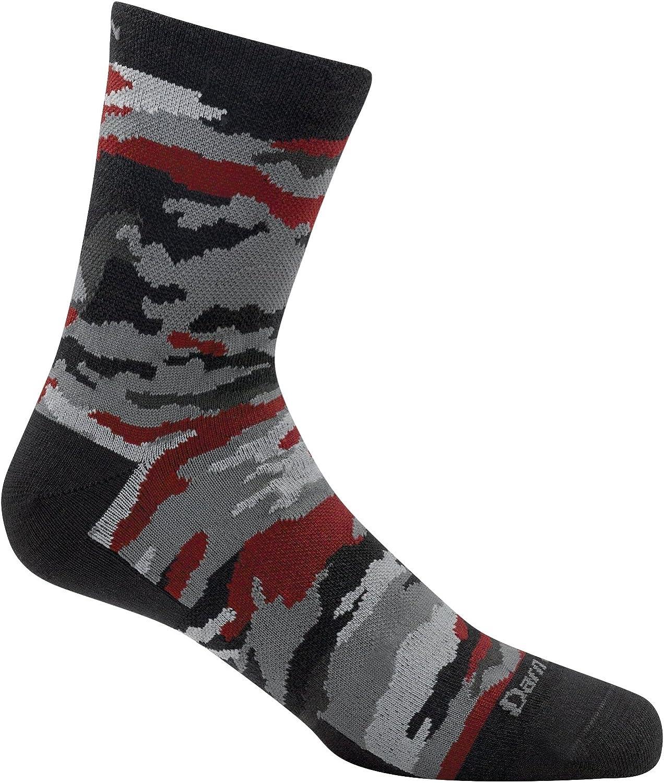 Kids Black Large Darn Tough Camo Micro Crew Sock