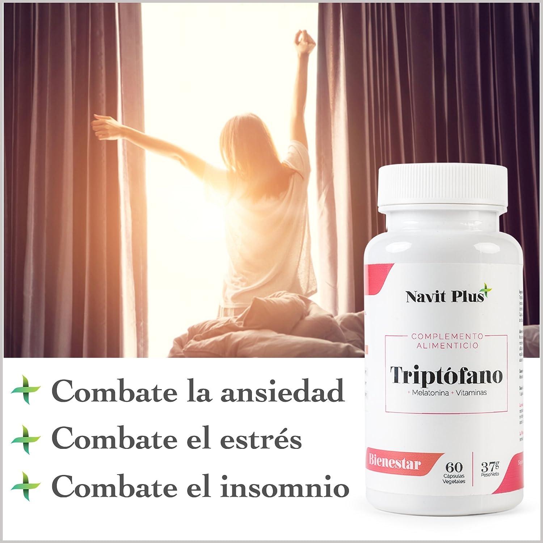 L-Triptófano de Navit Plus. Triptófano 500 mg + B6 + B3 + B2 + Melatonina. 60 cápsulas vegetales, tratamiento para 2 meses.