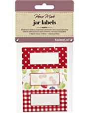 KitchenCraft Home Made Jam Jar Labels for Jars and Bottles, Orchard Designs, Red/White, Pack of 30