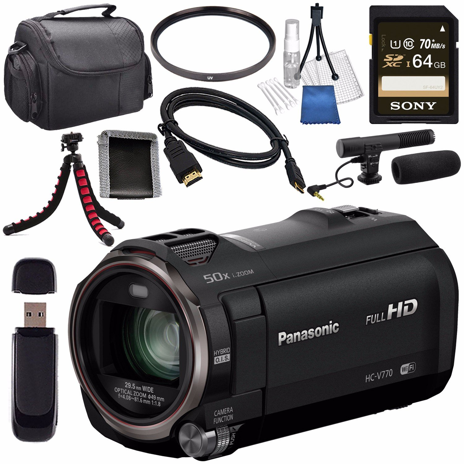 Panasonic HC-V770 HC-V770K Full HD Camcorder + Sony 64GB SDXC Card + 49mm UV Filter + Flexible Tripod + Carrying Case + Memory Card Wallet + Card Reader + Mini HDMI Cable + Condenser Mic Bundle