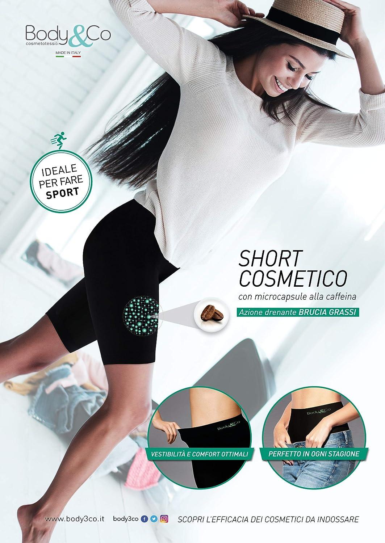 Body/&Co Short Sportivo con microcapsule alla Caffeina ad Azione brucia Grassi e anticellulite