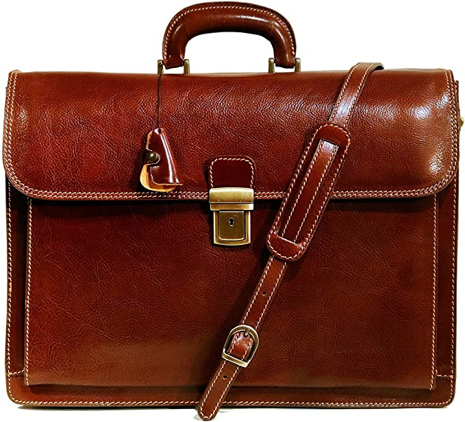 Floto Corsica Leather Lawyers Briefcase Italian Business Bag in Brown
