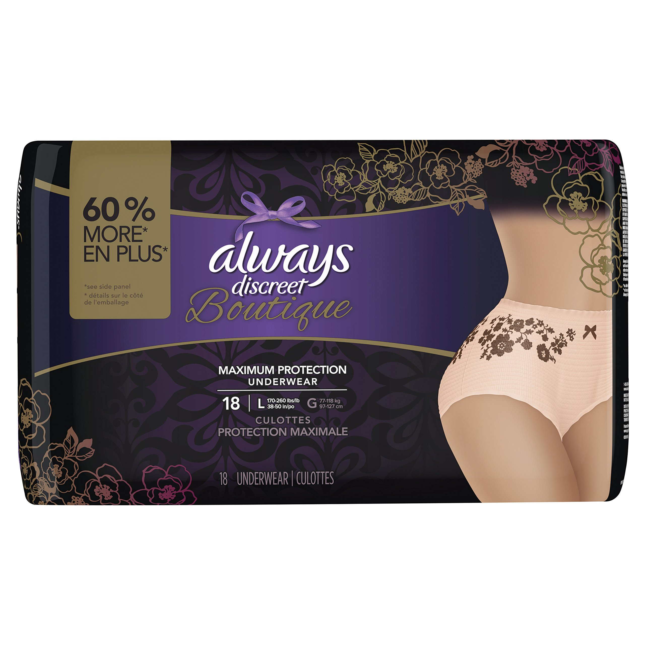 Always Discreet Boutique, Incontinence Underwear for Women, Maximum Protection, Large, 18 Count