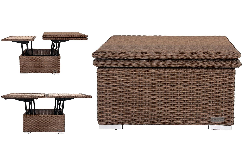 OUTFLEXX Loungetisch, hellbraun, Polyrattan, 75/152x75x40/64,5cm, in Esstisch verwandelbar