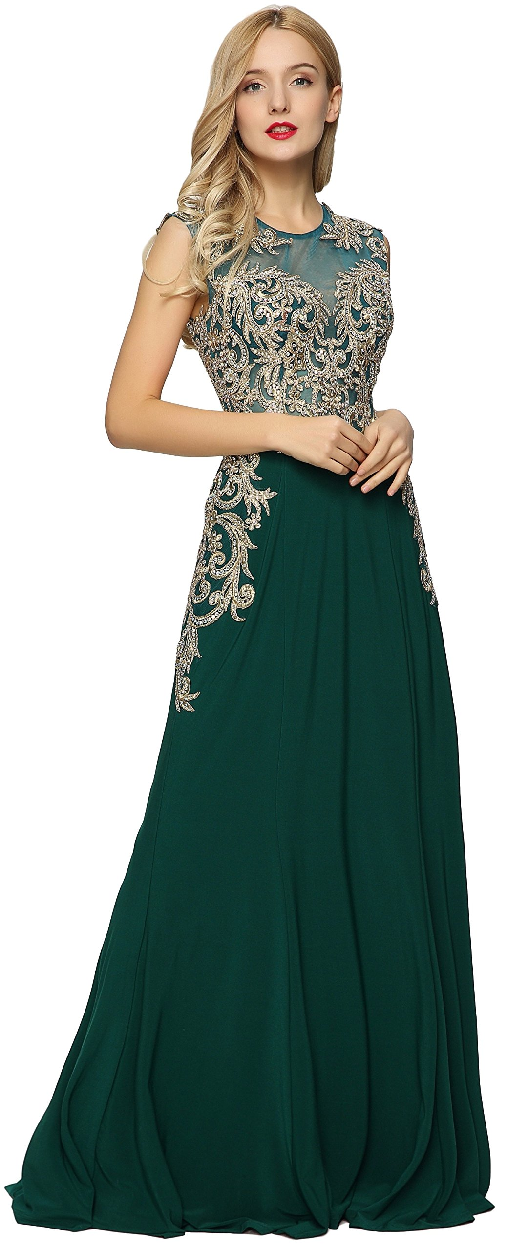 Meier Women's Sleeveless Gold Embroidery Evening Formal Dress Green size 16 by Meier