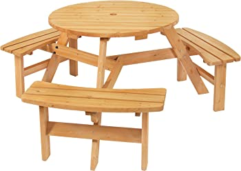 Best Choice Products Outdoor 6-Person Wooden Picnic Table Set