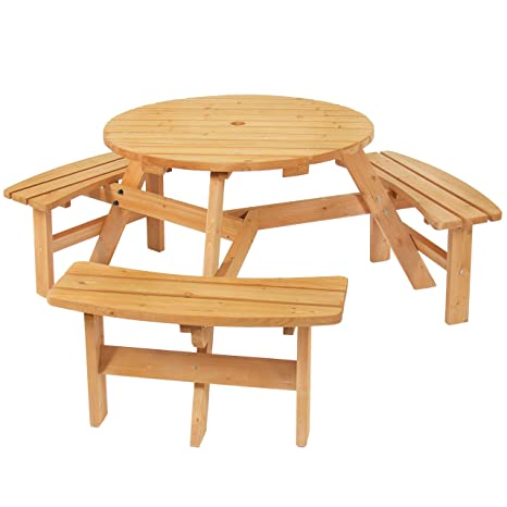 Magnificent Best Choice Products 6 Person Circular Outdoor Wooden Picnic Table With 3 Built In Benches And Umbrella Hole Natural Creativecarmelina Interior Chair Design Creativecarmelinacom