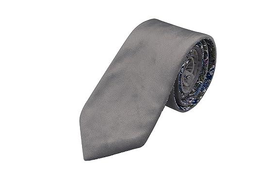 Necktie - Solid dark navy blue velvet with floral flipside Notch aAjRE1