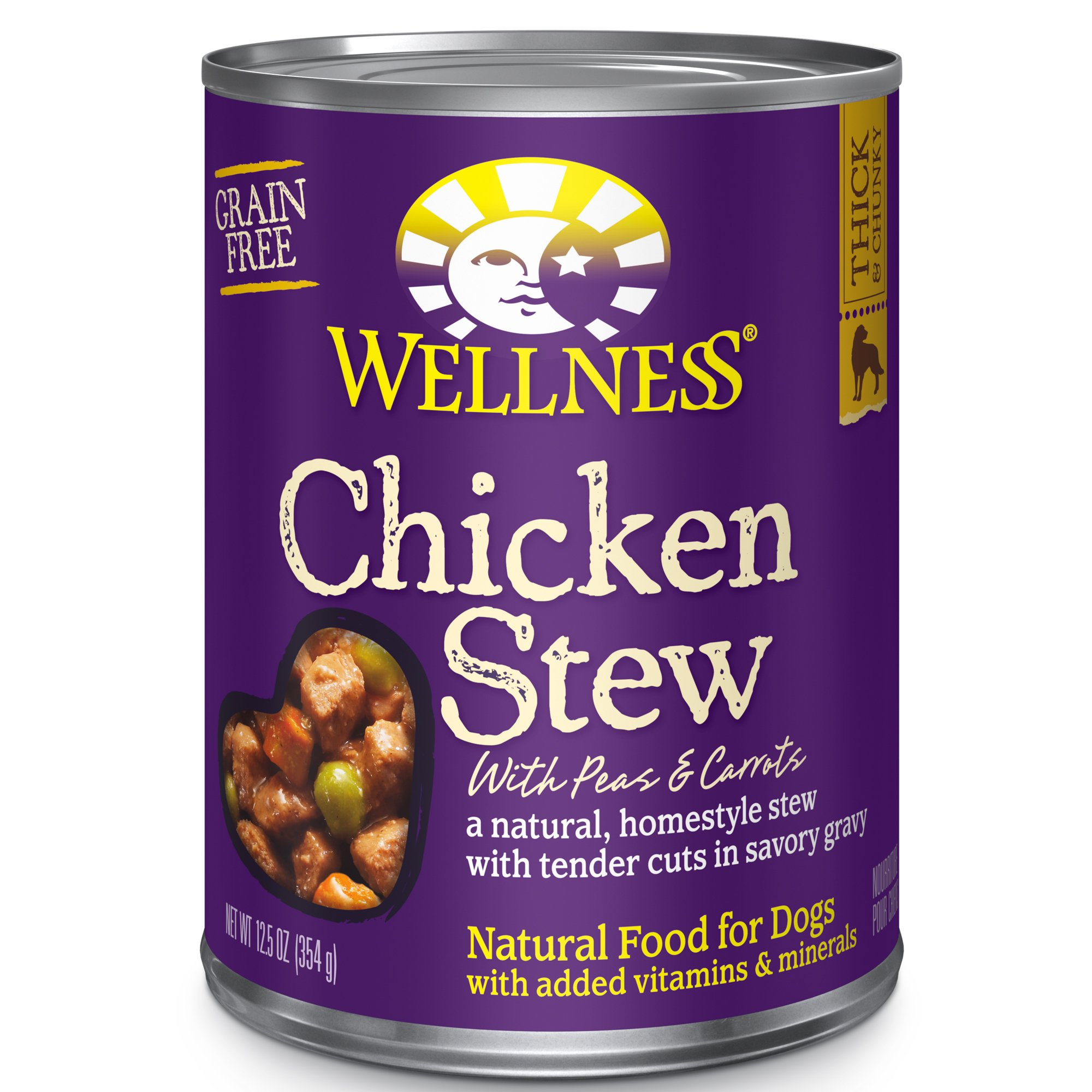 Wellness Thick & Chunky Natural Wet Grain Free Canned Dog Food, Chicken Stew, 12.5-Ounce Can (Pack Of 12) by Wellness Natural Pet Food