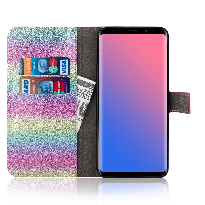 Rosa Felfy Kompatibel mit Galaxy J3 2017 H/ülle,Kompatibel mit Galaxy J3 2017 J330 Handyh/ülle Glitzer Diamant Strass Schutzh/ülle PU Leder Flip Case Magnetische Brieftasche mit Kartenfach